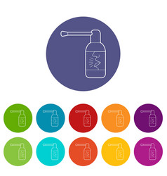spray for throat icons set color vector image