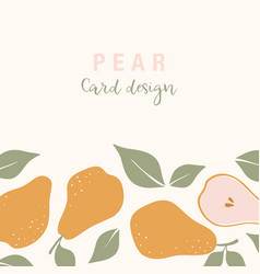 Stylish card design with pear fruits composition vector