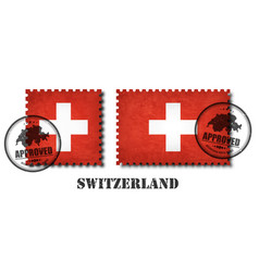 switzerland or swiss flag pattern postage stamp vector image