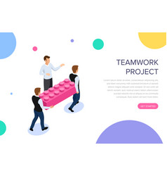 teamwork project concept with characters can use vector image