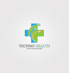 tech medical health logo template vector image