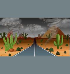 Tornado desert rain scene vector