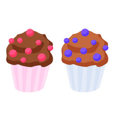 two chocolate cupcakes or muffins with decoration vector image