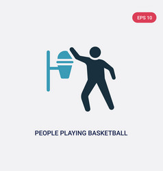 two color people playing basketball icon from vector image