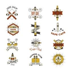Vape emblem set vector