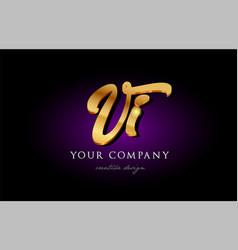 Vi v i 3d gold golden alphabet letter metal logo vector