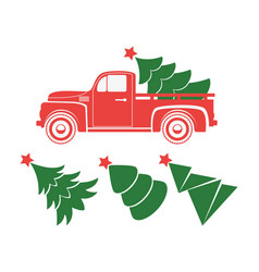 Vintage pickup truck delivery christmas tree vector