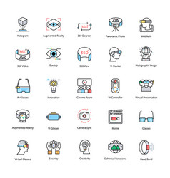 Virtual reality flat icons set vector