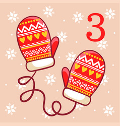 Warm winter mittens on a beige background vector