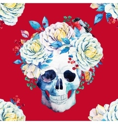 Watercolor skull pattern vector