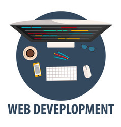 web development flat design web vector image