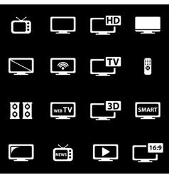 white tv icon set vector image