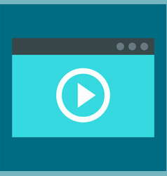 window video play icon flat style vector image