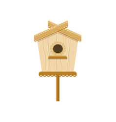 wooden birdhouse on stand flat icon of vector image