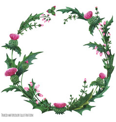 Wreaths from thistle and heather for decoration vector