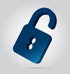 3d image - blue open padlock icon with shadow vector image vector image