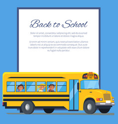 back to school poster with school bus and kids vector image