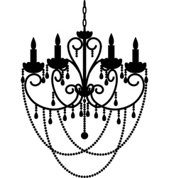 Chandelier with beads vector