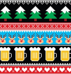 Christmas jumper pattern with beer vector image vector image
