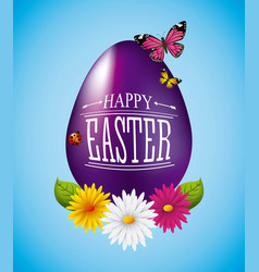 happy easter card purple egg flowers butterfly vector image