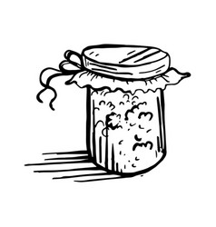 painted glass jar with jam vector image