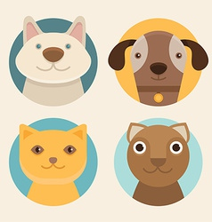 round badges with cats and dogs vector image vector image