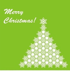 christmas postcard with white christmas tree vector image vector image