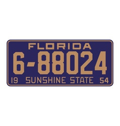 Florida1954 license plate vector image vector image