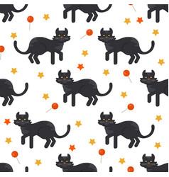 halloween black cat seamles pattern vector image vector image