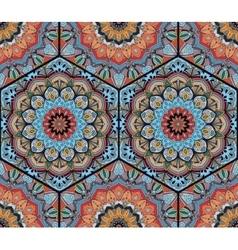 Honey Comb Hex Pattern Flower Mandala Blue Orange vector image vector image