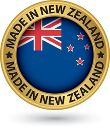 Made in New Zealand gold label with flag vector image vector image