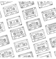 seamless pattern plastic cassette audio tape vector image