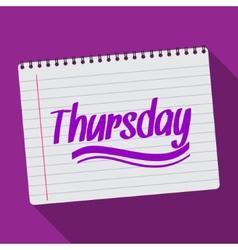 Spiral calendar thursday notebook notepad long vector image vector image