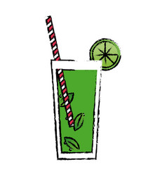 Alcohol drink and cocktail glass straw with lime vector