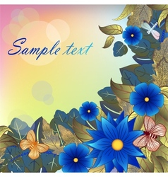 Autumn background with blue flowers butterflies vector image vector image