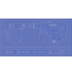 Drill hammer drill and bits engineer blueprint vector image vector image