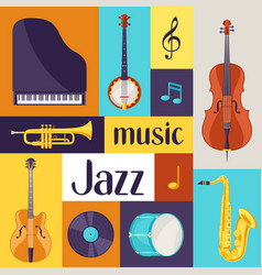 jazz music retro poster with musical instruments vector image