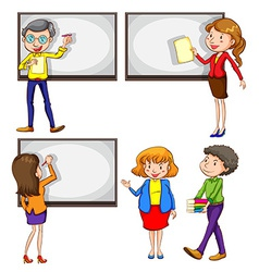 Male and female teachers vector image vector image