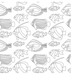 outlined coral fishes seamless pattern tile vector image vector image