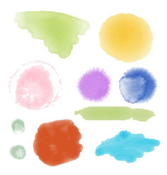 set of watercolor hand drawn brush strokes of vector image