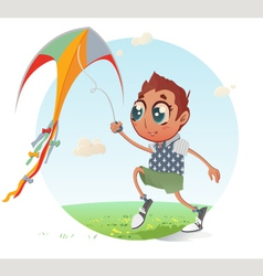 Boy flies his Kite vector image vector image