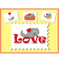 Cat with the heart vector image
