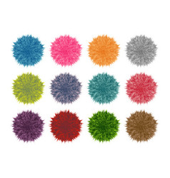 Colorful fluffy pompom set isolated on white vector