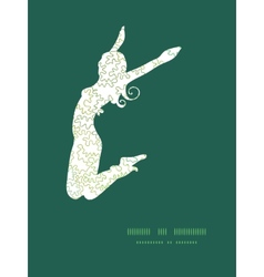 Curly doodle shapes jumping girl silhouette vector