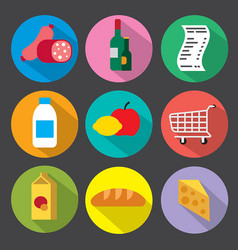 flat supermarket icons vector image vector image