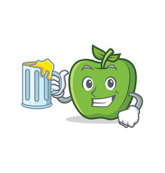 green apple character cartoon with juice vector image