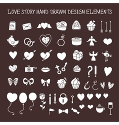 Love story hand drawn design elements doodle set vector image vector image