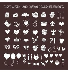 Love story hand drawn design elements doodle set vector image