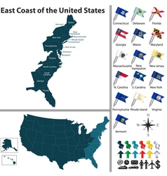 Map of east coast of the united states vector