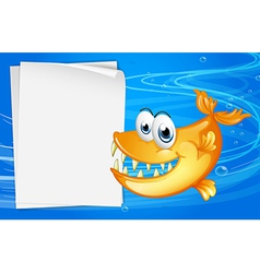 A fish with sharp teeth beside an empty paper vector image